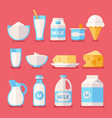 dairy milk yogurt cream cheese products flat vector image