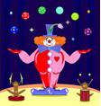 dark purple scene monkeys and red abstract clown vector image