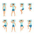 different positions sleeping man top view vector image