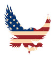 eagle silhouette with usa flag background design vector image