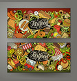fast food hand drawn doodle banners set cartoon vector image vector image