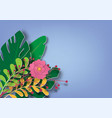 floral and leaves paper art stylish on blue vector image