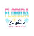 florida slogan and summer icons vector image