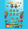 game template with divers and sea animals vector image vector image