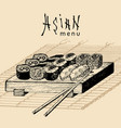 hand drawn asian menu hand vector image
