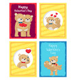happy valentines day posters set teddy bear couple vector image