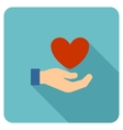 Love Care Flat Rounded Square Icon with Long vector image vector image
