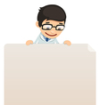 male doctor looking at blank poster on top vector image vector image
