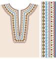 Neckline ethnic print design and border pattern vector image vector image