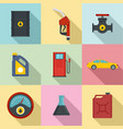 petroleum refill icons set flat style vector image