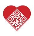 QR Code in shape of heart vector image