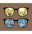 Retro sunglasses with owl reflection in it vector image vector image
