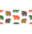 seamless pattern with bear logo vector image vector image