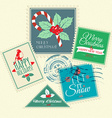 set christmas postal stamps vector image vector image