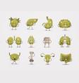 set unhealthy mascot characters sick damaged green