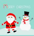 snowman santa claus wearing red hat costume big vector image