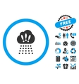 Storm Cloud Flat Icon with Bonus vector image