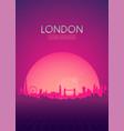 travel poster futuristic retro skyline london vector image vector image