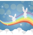 Two little Bunny having fun vector image vector image