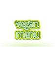 vegan menu word text logo icon typography design vector image vector image