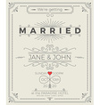 Vintage wedding invitation card vector image vector image