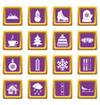 winter icons set purple vector image vector image