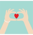 Woman hands in the form of heart Female holding vector image vector image