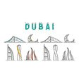 Dubai United Arab Emirates landing page for the vector image
