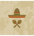 Mexican hat and maracas vector image