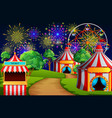 amusement park scene with circus tent and firework vector image