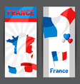 banners with map and flag france vector image