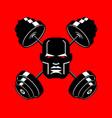 barbell crossed emblem for gym head