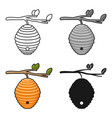 beehive icon in cartoon style isolated on white vector image