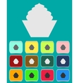 Cake sign icon Round colourful 12 buttons vector image