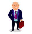 cheerful fat business man cartoon character vector image