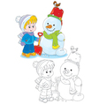 Child and snowman vector image vector image