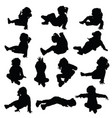 child silhouette little and happy in black color vector image vector image