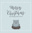 christmas background and owl in nest vector image vector image