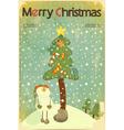 Christmas retro placard vector image vector image
