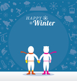 Couple in Snowsuit with Winter Icons Background vector image vector image