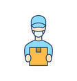 courier in face mask flat line icon vector image vector image