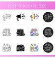 feminism icons set vector image
