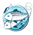 fish and fishing rod symbol vector image vector image