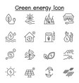 green energy icon set in thin line style vector image