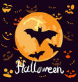 halloween night background with pumpkins faces and vector image vector image