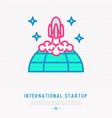 international start up thin line icon vector image