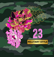 japanese flowers peony embroidered sequin vector image vector image