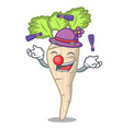 juggling fresh organic parsnip vegetable cartoon vector image
