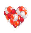 luxury balloons in red and white colours in heart vector image