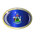 maine state flag oval button vector image vector image